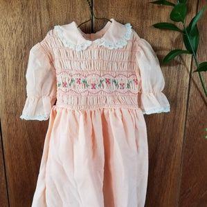 Vintage Pink Embroidered Handsmoked Dress